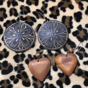 Wooden hippie heart shaped drop earrings bundle